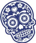 Mexican Day Of The Dead SUGAR SKULL In Dark Blue & White External Vinyl Car Sticker 120x90mm